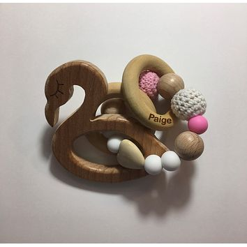 Engraved Personalized Flamingo Montessori Wooden Teether Rattle Organic Wood Teething Ring Gift for Baby Shower