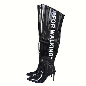 LINNET Lettering Patent Leather Knee High Boots