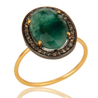 14K Yellow Gold Handmade Prong Set Emerald Gemstone Pave Diamond Ring