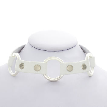 White Leather Three Ring Choker