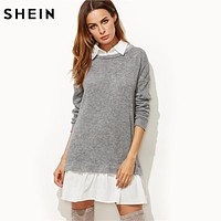 SHEIN Contrast Collar and Hem 2 In 1 Sweatshirt Dress Color Block Long Sleeve Casual Dress Autumn Dresses for Women