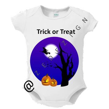 "Baby Onsie, Toddler Tee, Free Shipping,  ""HALLOWEEN"", White, Baby, Graphic Design, Monogram, Personalized, Custom Baby Onsie, Baby Shower"