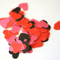 Little Pink, Red and Black Hearts: 25, 100, 250, 500 - paper, Scrapbook Embellishment, Cardmaking supplies, 1/2 inch, table scatter
