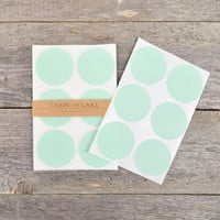 Large Mint Circle Dot Stickers - 24 pc