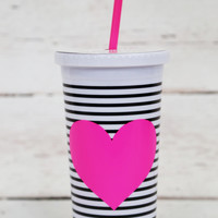 SIP SIP TUMBLER WITH STRAW - BLACK/WHITE STRIPE WITH NEON HEART