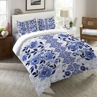 Indigo Blue Tribal Watercolor Flowers Duvet Cover