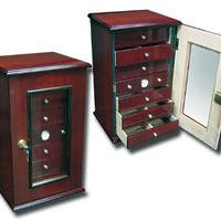 7 Drawer Desk Top Cigar Humidor - Cherry Finish - 210 Capacity
