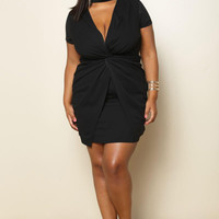 Black Knot Mini Plus Size Dress