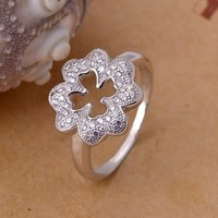 Stylish Jewelry New Arrival Gift Shiny Leaf Silver Accessory Ring [7495437959]
