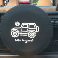 "All Things Jeep - Life is good ""Native Offroad"" Tire Cover"