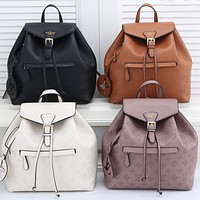 LV Louis Vuitton solid color pinhole letter pattern ladies shopping backpack school bag Daypack