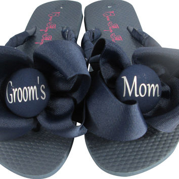 Groom's Mom Flip Flops in Navy/ many colors/ for the Wedding Sandals