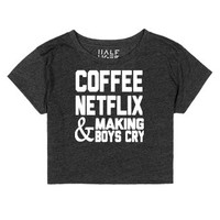 FlixCoffee-Female Heather Onyx T-Shirt