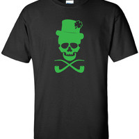 Skull pub Irish crawl fight bar scotland saint st. Patrick's Paddy's ireland scottish T-Shirt Tee Shirt Mens Ladies Womens mad labs ML-284g