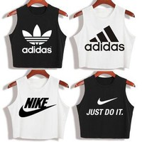 """Nike"" ""Adidas""Fashion Casual Classic Letter Print Round Neck Sleeveless Vest T-shirt"