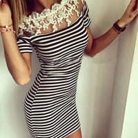 Women's Off Shoulder Lace Striped Dress