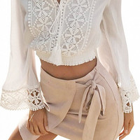 White Tassel Tie Front Lace Flared Sleeve Crop Top