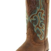 """Justin Boots Women's Stampede Collection 12"""" Boot Narrow Rounded Toe Western Rubber Outsole,Sorrel Apache,7 B US"""