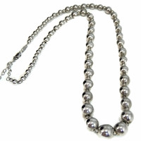 Silver Bead Necklace Graduated Sterling Silver Beads