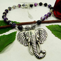 """Unusual Purple Stripped Onyx Elephant Necklace Lenth 22"""".Gifts Under 10,20,30,Silver Necklace,Valentine Gift"""