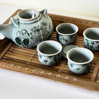 Lotus Celadon China Tea Set