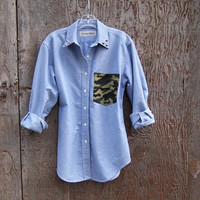 Studded camo pocket shirt long sleeve blue chambray button up oxford grunge hipster recycled upcycled by Glorious Morn women medium large