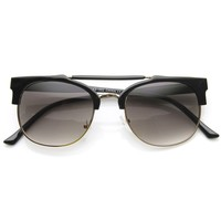 Dapper Double Bridge Vintage Fashion Crossbar Horned Rim Sunglasses 8973