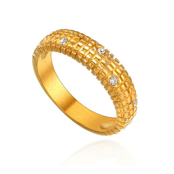 Stainless Steel Crystal and Rectangle Textured Ring - Gold Color