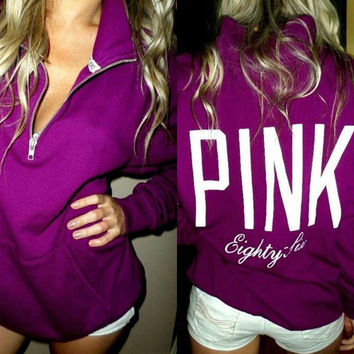 PINK Victoria's Secret Pattern Letter Print Zipper V-Neck Hoodie Top Blouse Sweatshirt Pullover Sweater