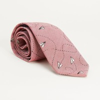 Red Chambray Paper Planes Print Tie