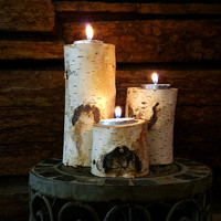 Birch Candle Holders, Set of 3 Real Natural Birch Log Tealight Candle Holders, Holiday Decor, Country Wedding,  Rustic Home Decor, RST233