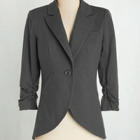 Menswear Inspired, Scholastic Mid-length 3 Fine and Sandy Blazer in Stone