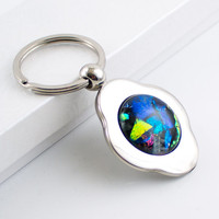 Multi Color Unique Key Chain, Key Ring, 4 Leaf Clover Keychain, Fused Glass, Dichroic Cabochon, Silver Keyring, Unique Gifts for Men,