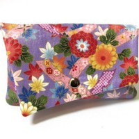 Wallet purse clutch Asian bright floral lavender red yellow gold | Patchtique - Bags & Purses on ArtFire