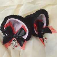 Kitten play clip on cat ears with lace and ribbon bows - neko lolita cosplay costume - kitten play gear accessories - black and re