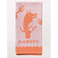 Hangry Woven Dish Towel in Angry Orange Monster