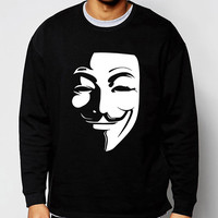 V for Vendetta Guy Fawkes hoodies men 2017 hot sale spring winter fashion men sweatshirt hip hop tracksuit brand clothing S-2XL