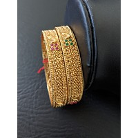 Mini Curly design Polki Stone Antique gold Bangles