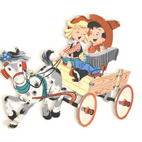 Vintage 1950s Cowboy Wall Hanging, Boy and Cowgirl on Wagon with Horse, Dolly Toy Co Cardboard Cutout, Kid's Baby's Room