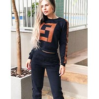 Fendi Fashion New More Letter Print Long Sleeve Top And Pants Two Piece Suit Black