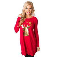 Feitong Autumn Women Dress 2016 Fashion Ladies Casual Round Collar Christmas Elk Long Sleeve Party Mini Dress vestidos feminino