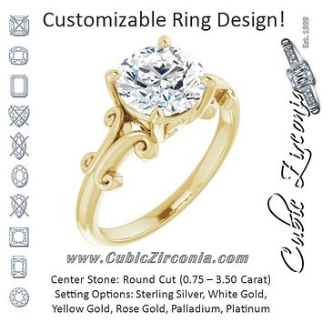 Cubic Zirconia Engagement Ring- The Paisley (Customizable Round Cut Solitaire with Band Flourish and Decorative Trellis)