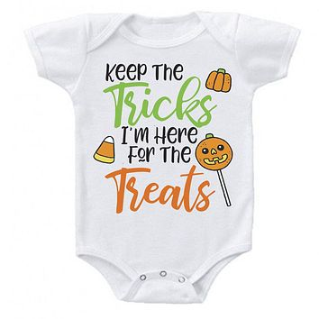 Keep the Tricks Im Here for the Treats Halloween RIP Cute Bats Costume Bodysuit Romper