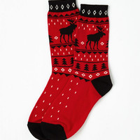 Vintage Inspired Moose Almighty Socks in Red Size OS by ModCloth
