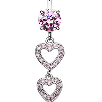 Sparkling Heart Cascade Belly Button Ring