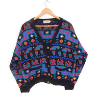 80s Vintage Oversized Cropped LL Bean Wool Sweater - Size Small - Black Blue Green Pink Yellow Geometric Tribal Patterned Knit Cardigan