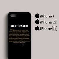 Game Of Thrones Night's Watch Design iPhone 5, 5S, SE Case