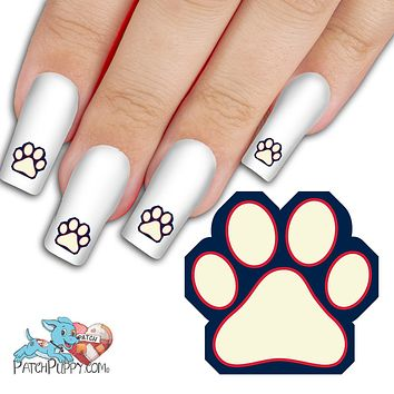 Prussian Blue, White and Red Team Spirit Paw Print - Nail Art Decals (Now! 50% more FREE)