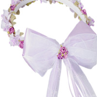 Lilac Floral Crown Wreath Handmade with Silk Flowers, Satin Ribbons & Bows (Girls)