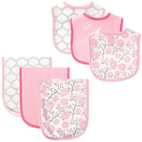 Hudson Baby Bib and Burp Cloth 6-Piece Set, Flower | Affordable Infant Clothing